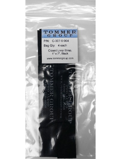 """Cord-Lox C-307-0-004 Closed-Loop Cable Strap, 1"""" x 7"""", Black, Pack of 4 each"""
