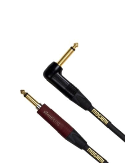 Mogami GOLD INSTRUMENT SILENT S-25R, Straight silentPLUG to Right Angle, 25 ft.