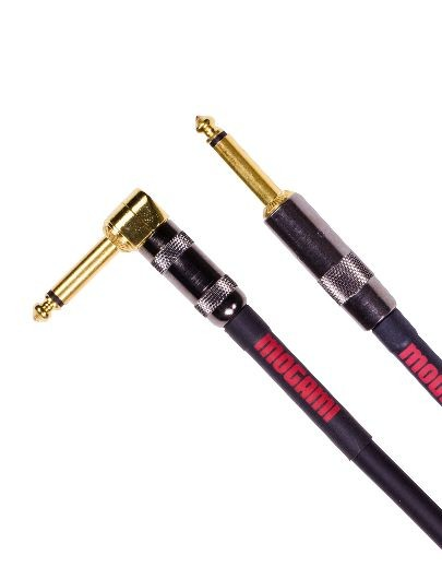 "Mogami OD GTR-03R Overdrive Guitar Cable, Gold 1/4"" TS Right Angle to Straight Plug, 3 ft."