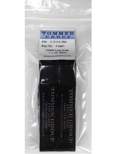"""Cord-Lox C-312-0-004 Closed-Loop Cable Strap, 1"""" x 12"""", Black, Pack of 4 each"""