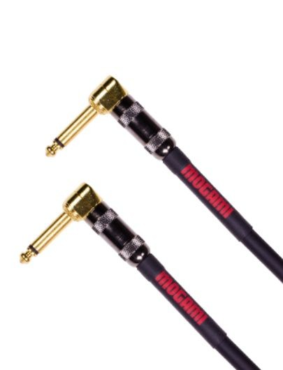 "Mogami OD GTR-01RR Overdrive Pedal/Effects Instrument Cable, Gold 1/4"" Right Angle Plugs, 10"""